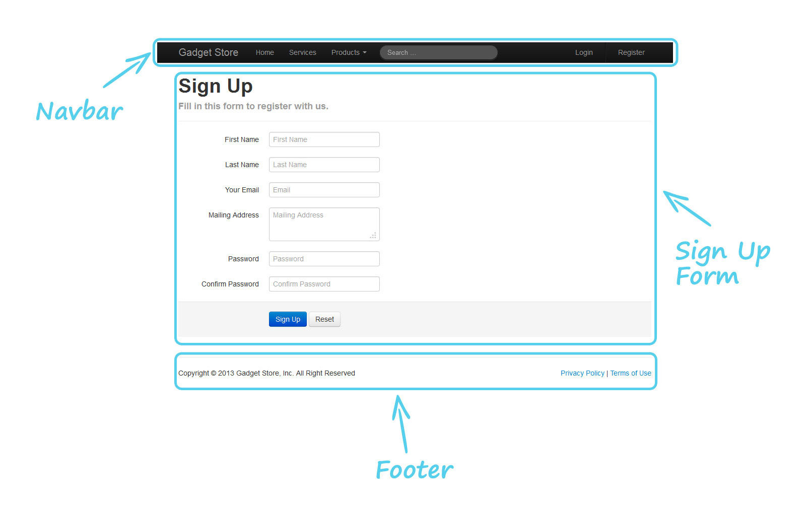 Twitter bootstrap tutorial a quick start guide for beginners sign up page falaconquin