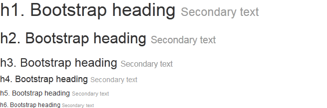 Bootstrap Headings with Secondary Text