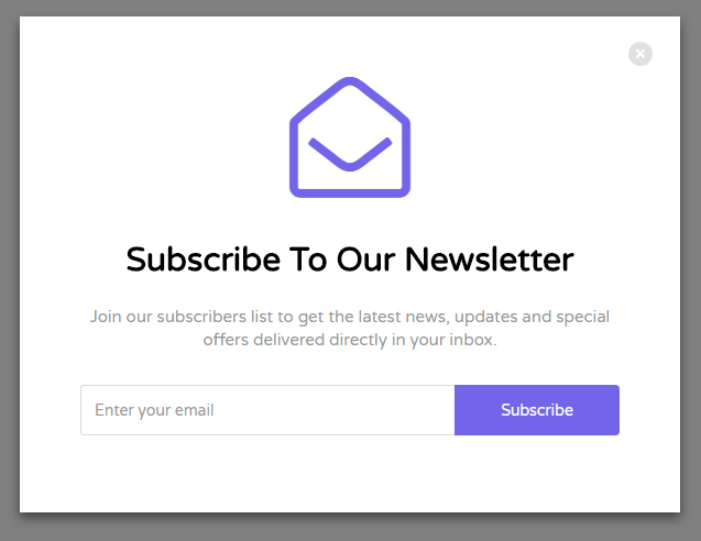 90070acbc295d Bootstrap Subscribe Newsletter Form inside Modal Template